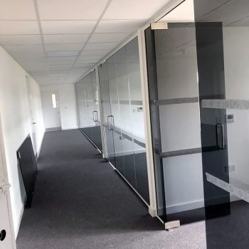 smoked glass office partitions