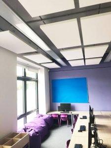 acoustic rafts in school ceiling